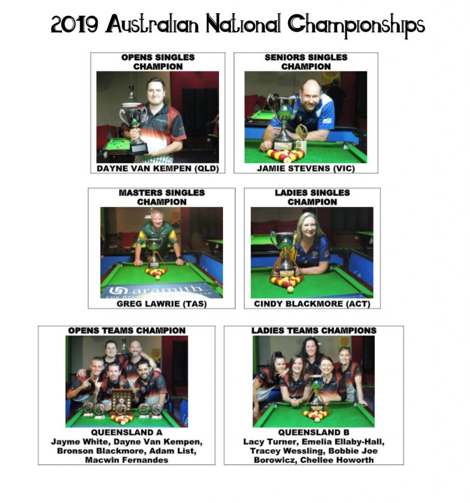 Australian National Blackball Championships 2019 winners