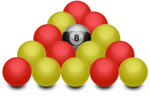 arrangement of racked blackball pool balls