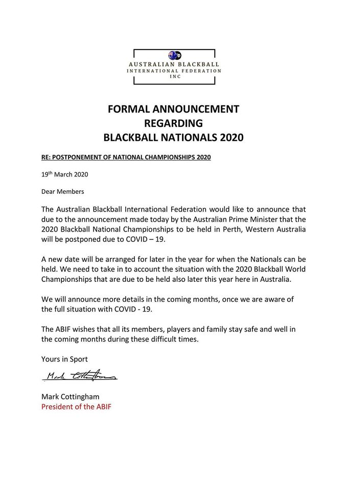 Australian Blackball National Championships postponed