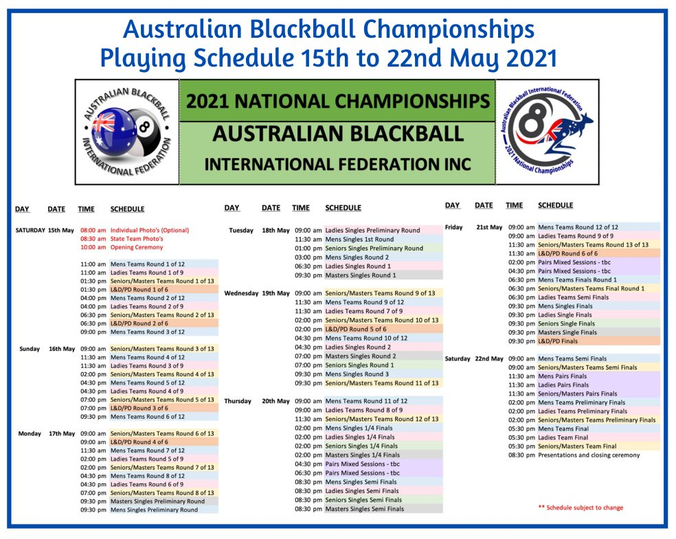 Australian Blackball 2021 Playing Schedule